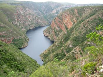 The Kouga Dam in the Eastern Cape, the habitat of Cotyledon gloeophylla.