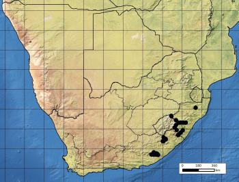 Known distribution of of the South-African endemic Fanninia caloglossa